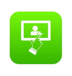 touch screen tablet click icon digital green vector image