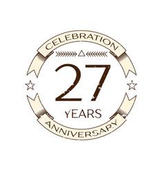 twenty seven years anniversary celebration logo vector image