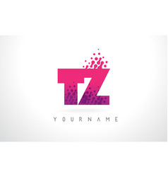 tz t z letter logo with pink purple color and vector image