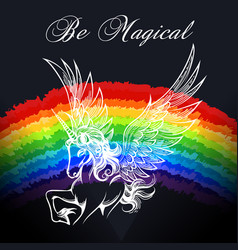 unicorn colorful emblem vector image