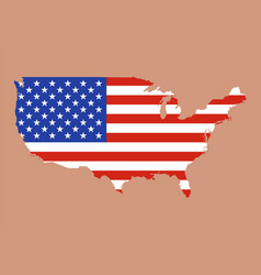 United states of america map with usa flag inside vector