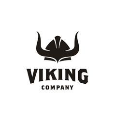 viking knight warrior armor horns helmet logo vector image