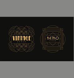 vintage retro style logo templates set luxury art vector image