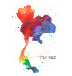 Watercolor map thailand stylized image with vector