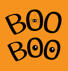 word boo text with hanging spider insect vector image