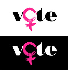 word vote is combined with female symbol vector image