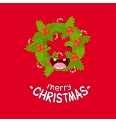 Wreath Cheerful Christmas card vector image