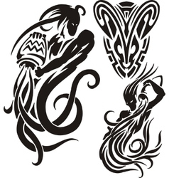 Zodiac Signs - aquarius Vinyl-ready set vector image