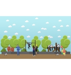 zoo concept banner people visiting zoopark vector image