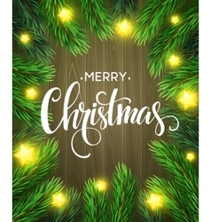 Christmas Tree Branches Border vector image vector image