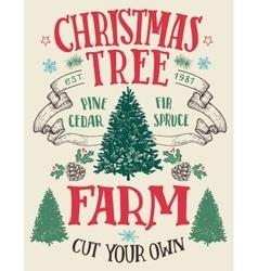 Christmas tree farm vintage sign vector