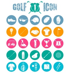 Colorful icons on of golf vector image vector image