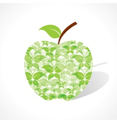 Green butterfly make a apple vector image