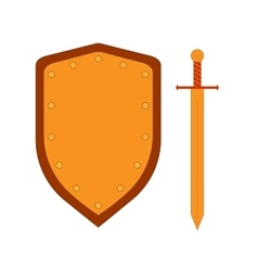 Set of sign shield and sword gold 3007 vector image vector image