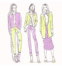 Set with color scetch of trendy girls vector image