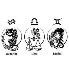 Signs of Air Zodiac Emblem Set vector image vector image