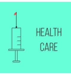 concept of health care with outline syringe vector image vector image