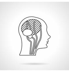 Flat line head anatomy icon vector image
