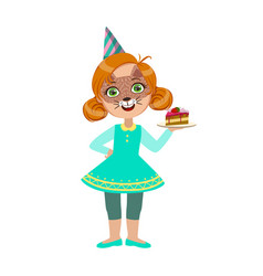 girl in cat mask with cake piece part of kids at vector image vector image