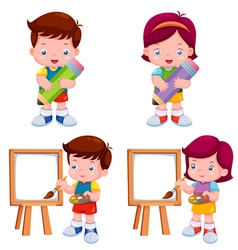 Kids with education object vector image
