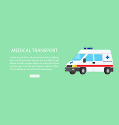 medical transport isolated with text vector image vector image