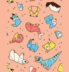 origami pattern background with animals vector image