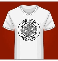 V neck Shirt Template with Snake Knot vector image