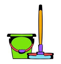 bucket with a mop icon cartoon vector image