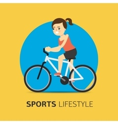 Girl riding a bicycle flat vector