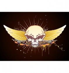 skull winged emblem vector image vector image