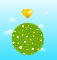 grass ball with yellow balloon vector image vector image