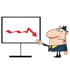 Grumpy boss pointing to a decline board vector
