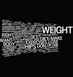 lose weight on hips text background word cloud vector image vector image