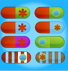 medic colored pills sign set isolated vector image vector image