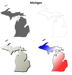 Michigan outline map set vector image