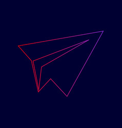 paper airplane sign line icon with vector image
