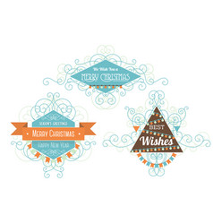 three christmas badges vector image vector image