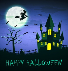 Witch flying over haunted castle with full moon vector image vector image