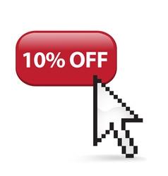 10 Off Button Click vector image