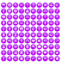 100 tourist attractions icons set purple vector
