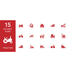 15 tractor icons vector