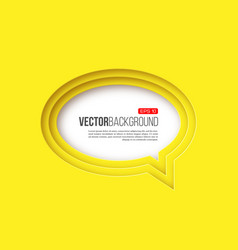 3d paper round speech bubble yellow color vector image