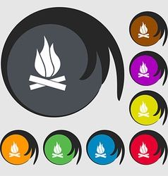 A fire icon sign Symbol on eight colored buttons vector image