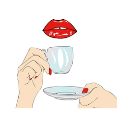 A good morning have coffee in the mouth vector image