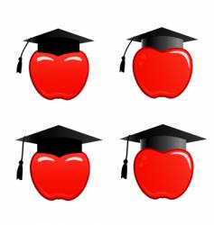 apple in graduation cap vector image vector image