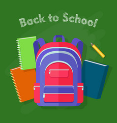 back to school violet backpack with red lines vector image