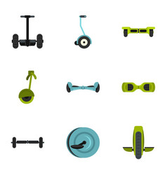 Balancing scooter icon set flat style vector
