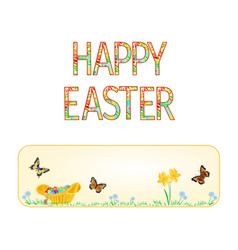 banner happy easter wicker basket with easter egg vector image