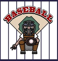 Baseball player caught in ball vector