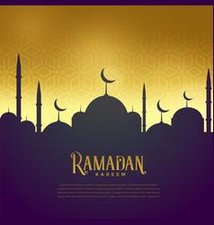Beautiful mosque on golden background ramadan vector